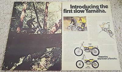 1974 Yamaha Trial Motorcycle TY250 TY80 Original Color Magazine Ad