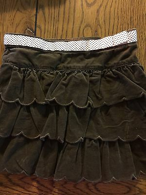 *JANIE AND JACK* Girls LITTLE PARIS Brown Wale Cord Tiered Scalloped Skirt Sz 5T