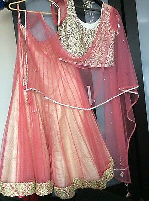 lengha peach/light pink/gold
