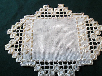 Hardanger  Doily Norwegian Embroidery Ivory with ivory Hand Made