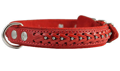 """Genuine Leather Braided Studded Dog Collar, Red 1"""" Wide. Fits 14""""-18"""" Neck"""