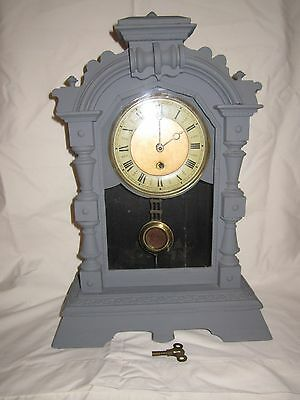 Antique German painted wood cased mantle clock with pendulum & key
