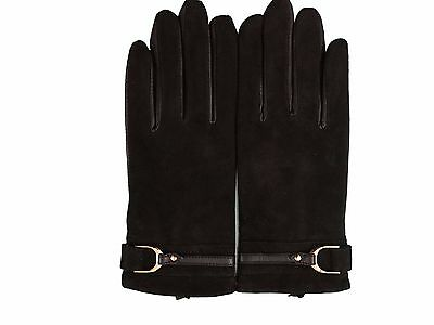 New Women's Black Fashion Gloves 100% Genuine Leather With Fleece Small Size