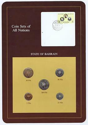 Bahrain 1965 5 pc Mint Set  BU Coin Sets of All Nations stamp cancellation