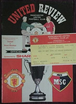 European Cup Winners Cup Football Programme & Ticket 1990 Manchester United