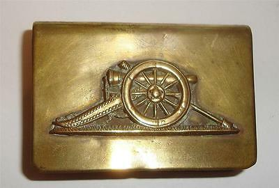 Wwi Brass Trench Art Matchbox Cover Royal Artillery France Belgium Italy