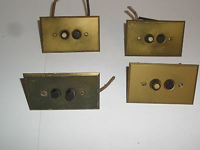 4 Vintage Hart & Hegeman Mfg Co. Metal Plate Push Button Light Wall Switches