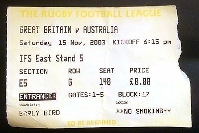 GREAT BRITAIN v AUSTRALIA - TICKET - KC STADIUM 2003