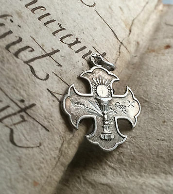 Superb Antique French Silver Medal Pendant Cross Inscribed & Dated 1898 Monogram