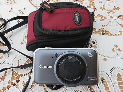 Canon PowerShot SX220 HS 12.1MP Digital Camera - Grey lowe pro case and battery