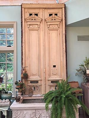 Antique pair of front doors very tall beautiful hardware and detail painted