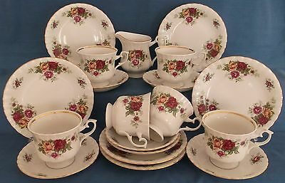 Vintage Chodziez Old Country Roses Style 19 Piece China Tea Set Gold Trim