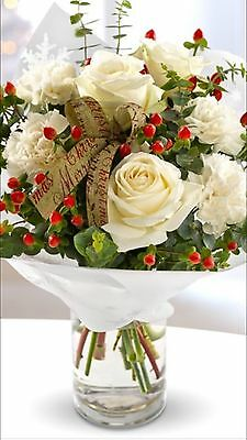 Fresh Flowers Xmas Bouquet (vase Not Included)Delivery Redhill To Croydon