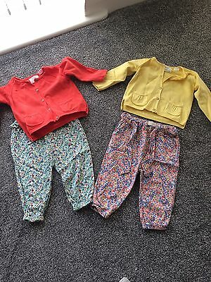 Girls Zara Outfits Harem Pants And Cardigans 9/12 & 12/18 Months