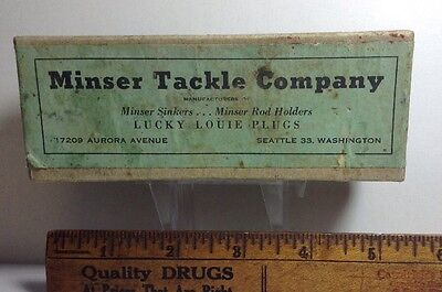 Rare Vintage Minser Tackle Company Intro Lucky Louie Fishing Lure Box ~ Herring