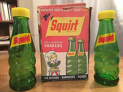 Vintage Unused Squirt Soda Glass Salt And Pepper Shakers In Original Box