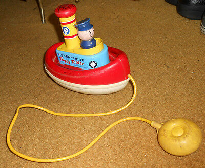Vintage 1967 Fisher Price Tuggy Tooter Tug Boat Pull Toy USA Floats Bathtub Bulb