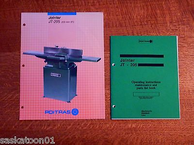 """Authentic Original Poitras Woodworking Machinery JT-205 8"""" Jointer Manual"""