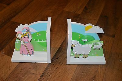 Vintage VTG SASSAFRAS 1996 Mary Had a Little Lamb Wooden Book Ends Bookends