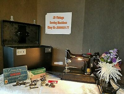 1956 Singer 221 Featherweight Sewing Machine w/Case, SERVICED AND COMPLETE