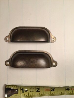 Pair Of Antique steel Bin Pull