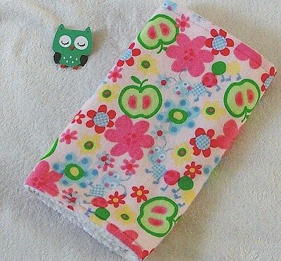 Handcrafted Pink Flannel Flowers Caterpillars & White Minky  Baby Burp Cloth