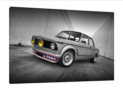 BMW 2002 - 30x20 Inch Canvas - Print Framed Picture Wall Art