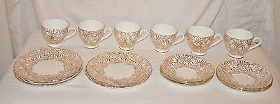 Bone China - Tea Cup, Saucer and Dessert Plate Set #1284 Gold Crown Stamp