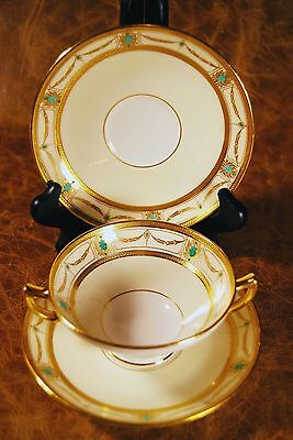10 Minton/Collamore K59 Gold, Ivory,Turquoise Cream Soups & Saucers, RARE c.1923