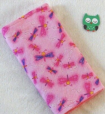 Handcrafted, Flannel Pink Dragonfly Print & Pink Minky Bubble Baby Burp Cloth