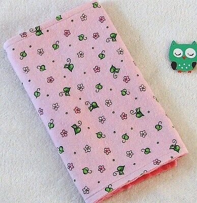 Handcrafted, Flannel Pink Flower Print & Pink Minky Bubble Baby Burp Cloth