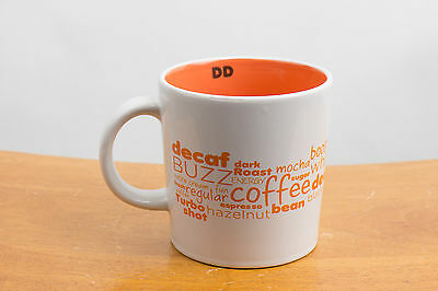 "Dunkin Donuts 16 oz White 5.5"" Tall Ceramic Coffee Cup Mug - Buzz Words - 2011"