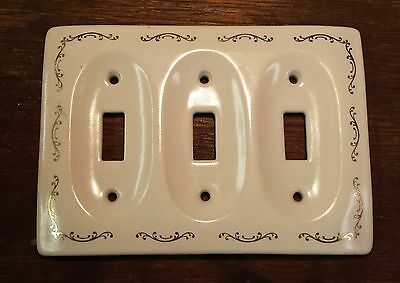 Ceramic Triple Switch Plate Cover Gold Scroll Accents