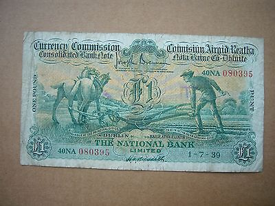 Ireland The National Bank Limited One Pound Ploughman Note 1939