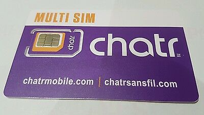 Chatr Multi 3 in 1 triple Sim Card - New Canada travel Unlimited 3G