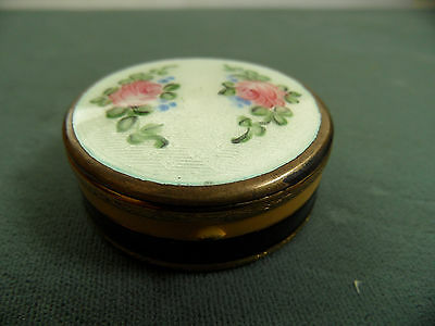 vintage  Powder Compact mirror Guilloche Enamel Vintage makeup case pill box