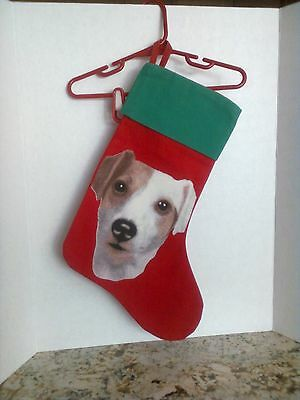 Jack Russell Terrier JRT Red/Green Canvas Christmas Stocking
