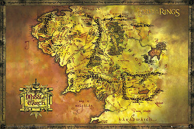 """The Lord Of The Rings Poster """"middle Earth Map"""" Licensed """"brand New"""" The Hobbits"""