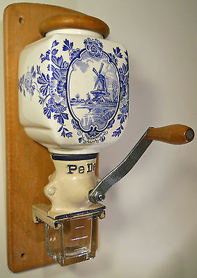 Vintage PeDe Dutch COFFEE MILL Wall Mount Grinder Blue Delft Porcelain