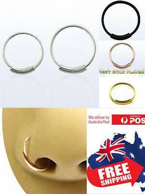 S925 Sterling Silver 22g Endless Hoop Ring Seamless Nose Ear Body Piercing 1pc