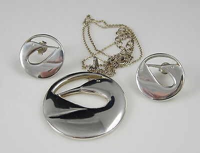 Vintage Stunning Sterling Silver Duck Goose Water Bird Necklace Earrings Set