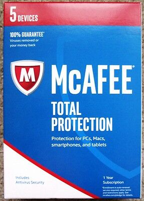McAfee Total Protection 2017 PC/Mac/Android/iOS (5 Devices - 1 Year) Like New