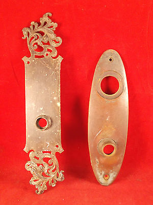 Lot of2 Different Vintage Solid Brass Back Plates 1 marked Yale E and Unbranded