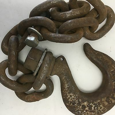 Rusty Huge Tow Chain & Hook Crosby D3C See Pic for Size Steampunk Barn Find