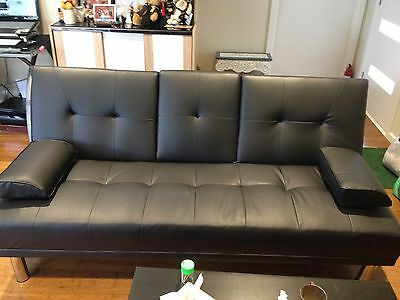 Sofa Bed 3 Seater PU Leather & Cup Holders