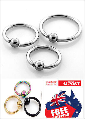 New 316L Surgical Steel 16g Nose Ear Lip Nipple Captive Ring With 3mm Ball 1pc
