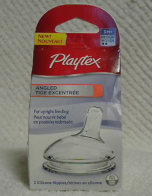PLAYTEX ANGLED SILICONE NIPPLES MEDIUM 3M+ For Nurser & Ventaire Wide Bottles