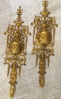 "Antique 22"" French Bronze Ormalu FIGURAL Pair Wall Sconces ARCHITECTURAL DECOR"