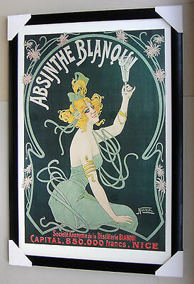 """ABSINTHE framed POSTER """"BLANQUI"""" Ready to Hang BACK FRAME WITH GLASS"""