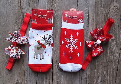 Baby Christmas Winter Extra Warm Socks with Matching Headband  1-6 Years